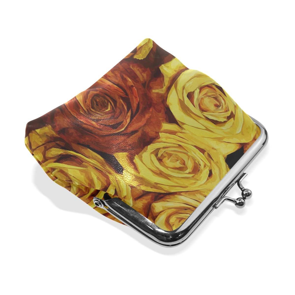Rh Studio Coin Purse Clasp Closure Roses Painting Bloom Flower Design Print Wallet Exquisite Coin Pouch Girls Women Clutch Handbag Exquisite Gift