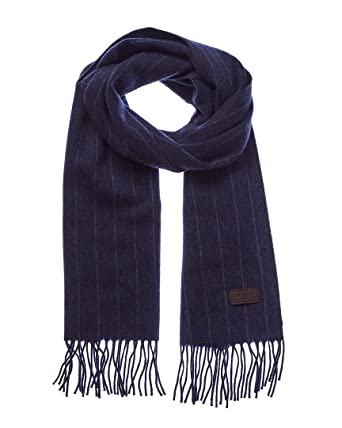d9605958f Men's Cashmere Scarf – Blue Chalk Stripe, 100% Italian Cashmere, 72 inches x