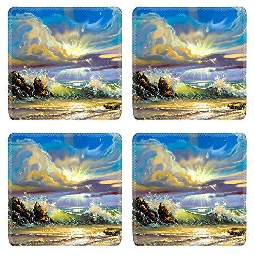 Liili Square Coasters Non-Slip Natural Rubber Desk Pads Sunset on seacoast Photo (Seacoast Natural)