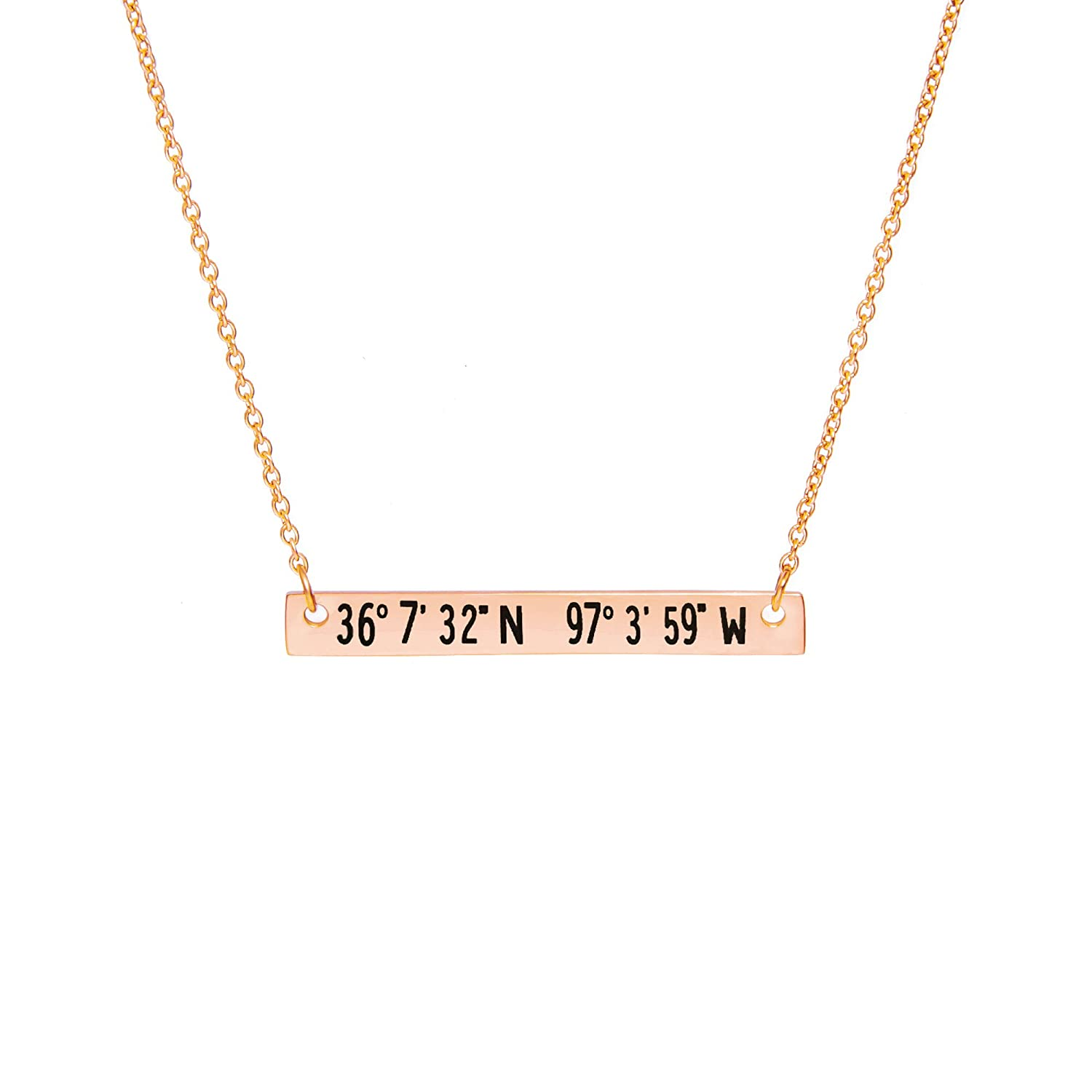 States Coordinates Bar Necklace 16x16 In Rose Gold Personalized Birthday Gift For Girlfriend