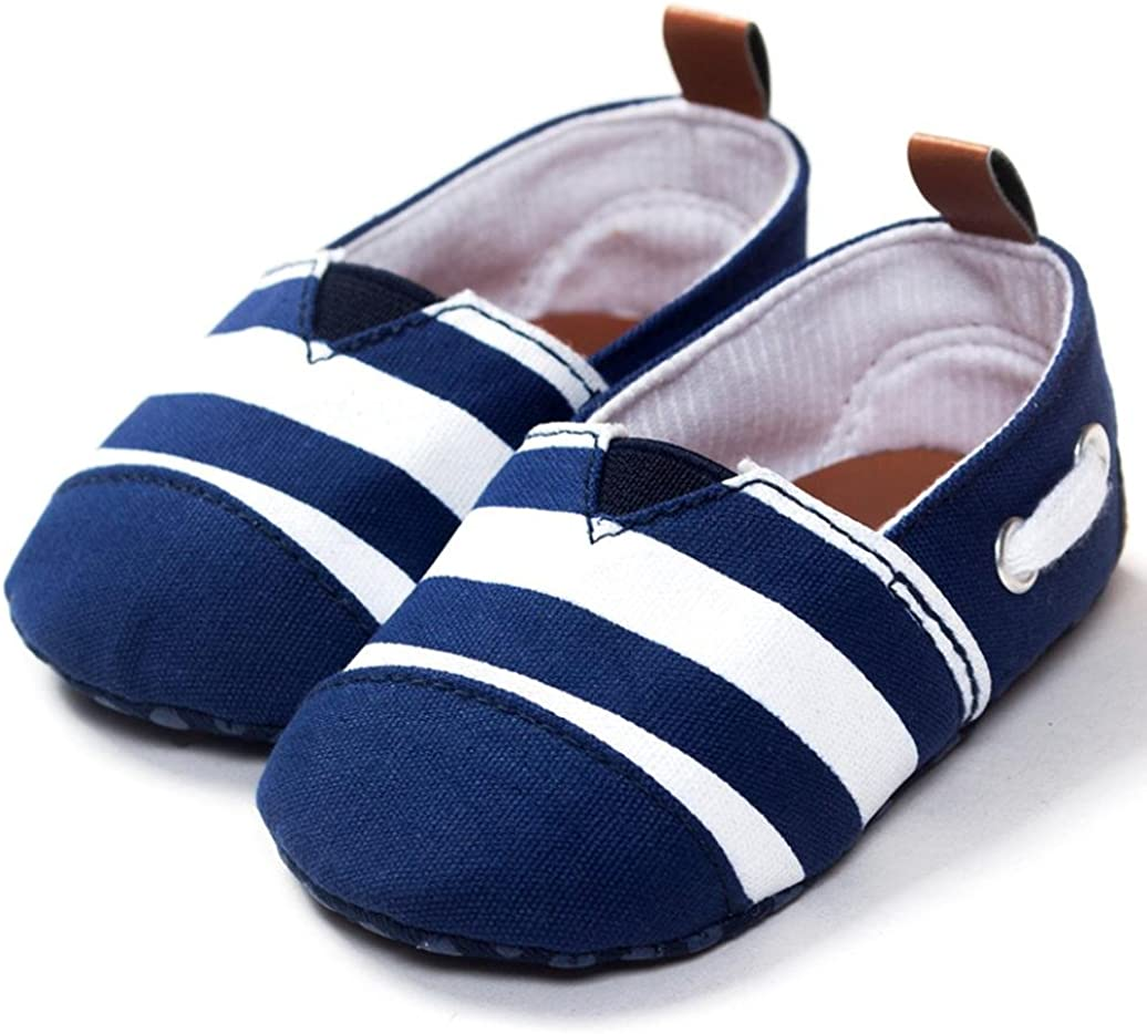 WARMSHOP Infant Boys Girls Soft Solid Color Slip-On Stripe Casual Crib Shoes