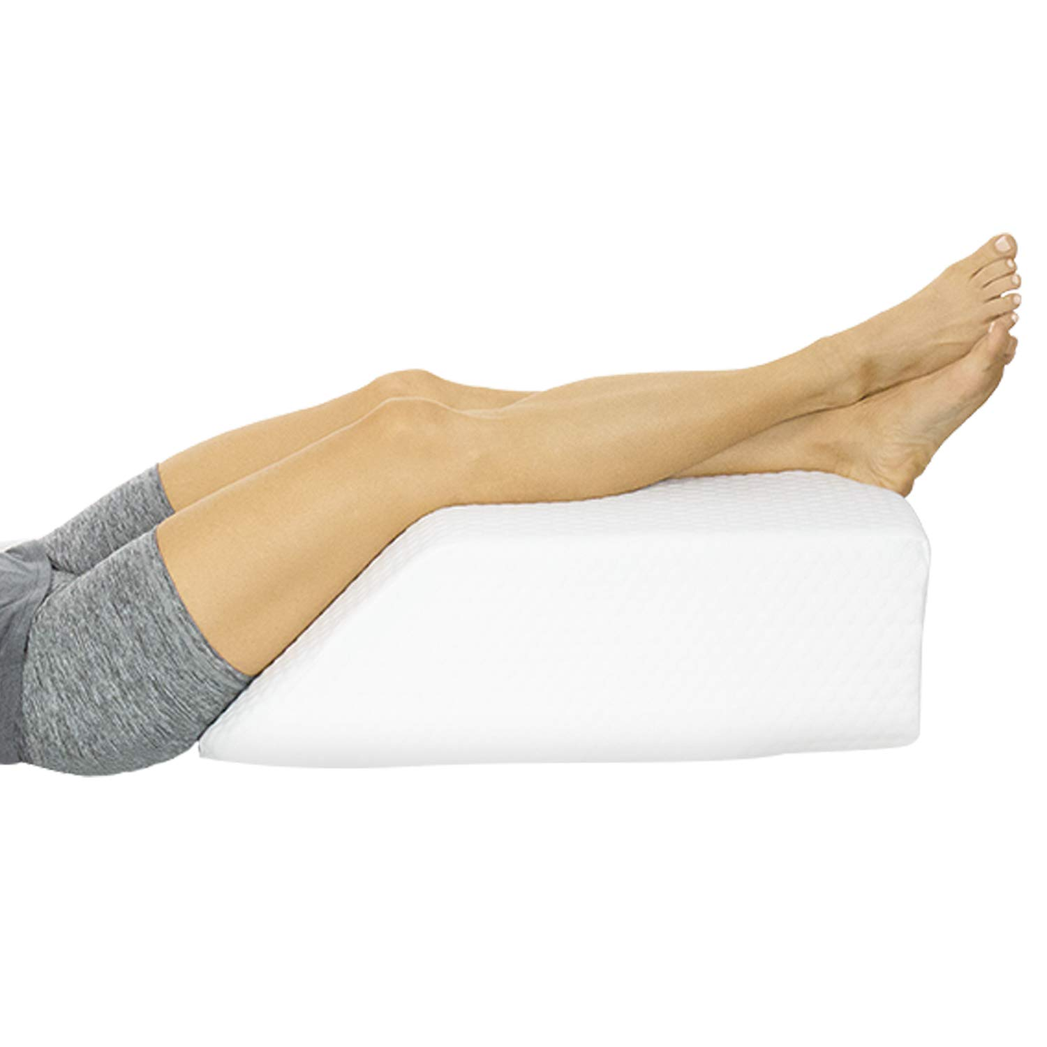 Xtra-Comfort Leg Elevation Pillow - Wedge Elevator Support Cushion for Sleeping, Pregnancy, Maternity, Elevated Prop Up Position, Back Pain, Foot Raise, Sciatica - Knee Elevating Incline Memory Foam by Xtra-Comfort