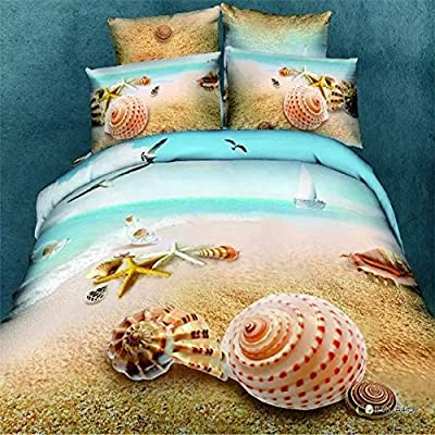 3D Oil Painting Beach Shell Bedding Sets,(1PC Duvet Cover,1PC Bed Sheet,2PC PillowCase ),100% Cotton King Queen Size Shell Duvet Cover Sets
