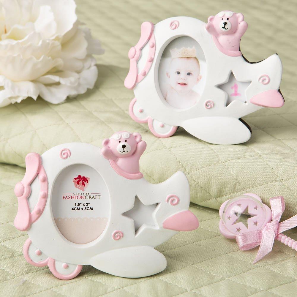 150 Pink Airplane Design Photo Frame w/ Adorable Teddy Bear Decoration