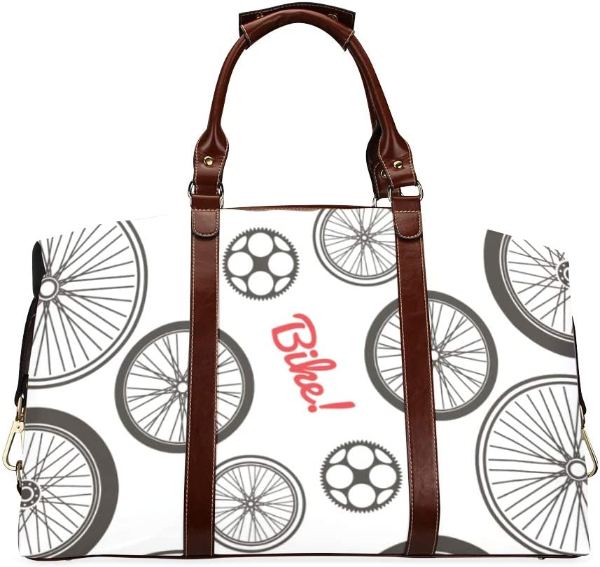 Carry Handbag Black And White Bicycle Wheels Classic Oversized Waterproof Pu Leather Modern Woman Bags Fashion Travel Bag