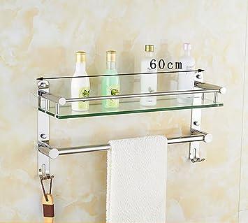 Badezimmer Regal Badezimmer-Glas-Regale Wand-Kleiderbügel, Edelstahl ...
