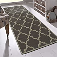 Ottomanson Nature Cotton Kilim Collection Trellis Design Runner Rug Area, 20 x 59, Brown
