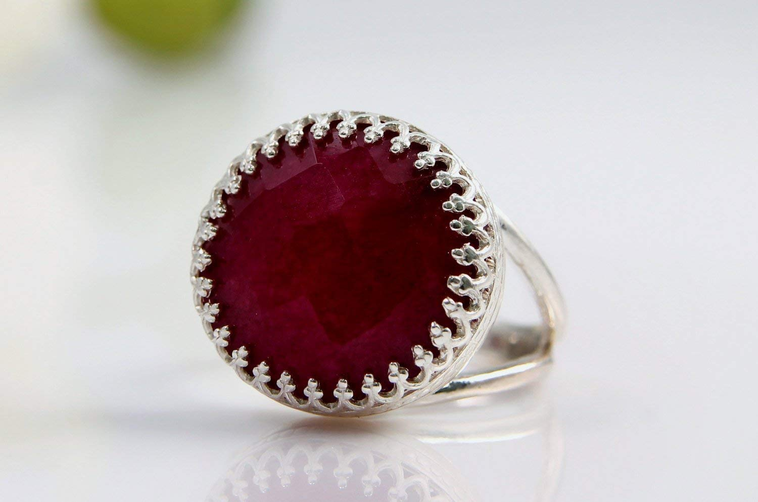 Vintage Ruby Ring by Anemone Jewelry - Silver Rings for Women with Engraving for Casual Wear All Day Long with Free Fancy Ring Box