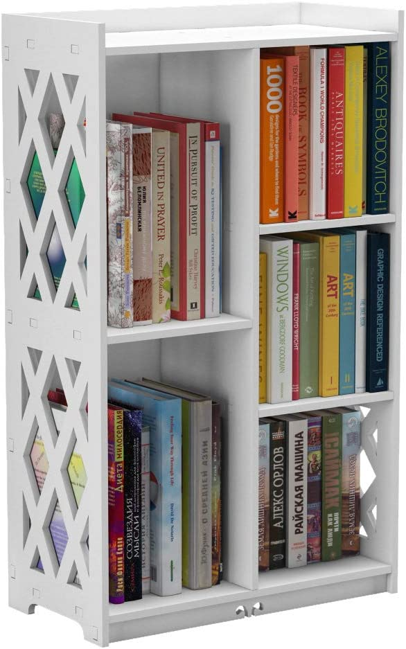 Rerii Bookcase, Small Bookshelf, Kids Book Case Open Shelf with 5 Cube Storage Organizer for Bedroom Living Room Office, White
