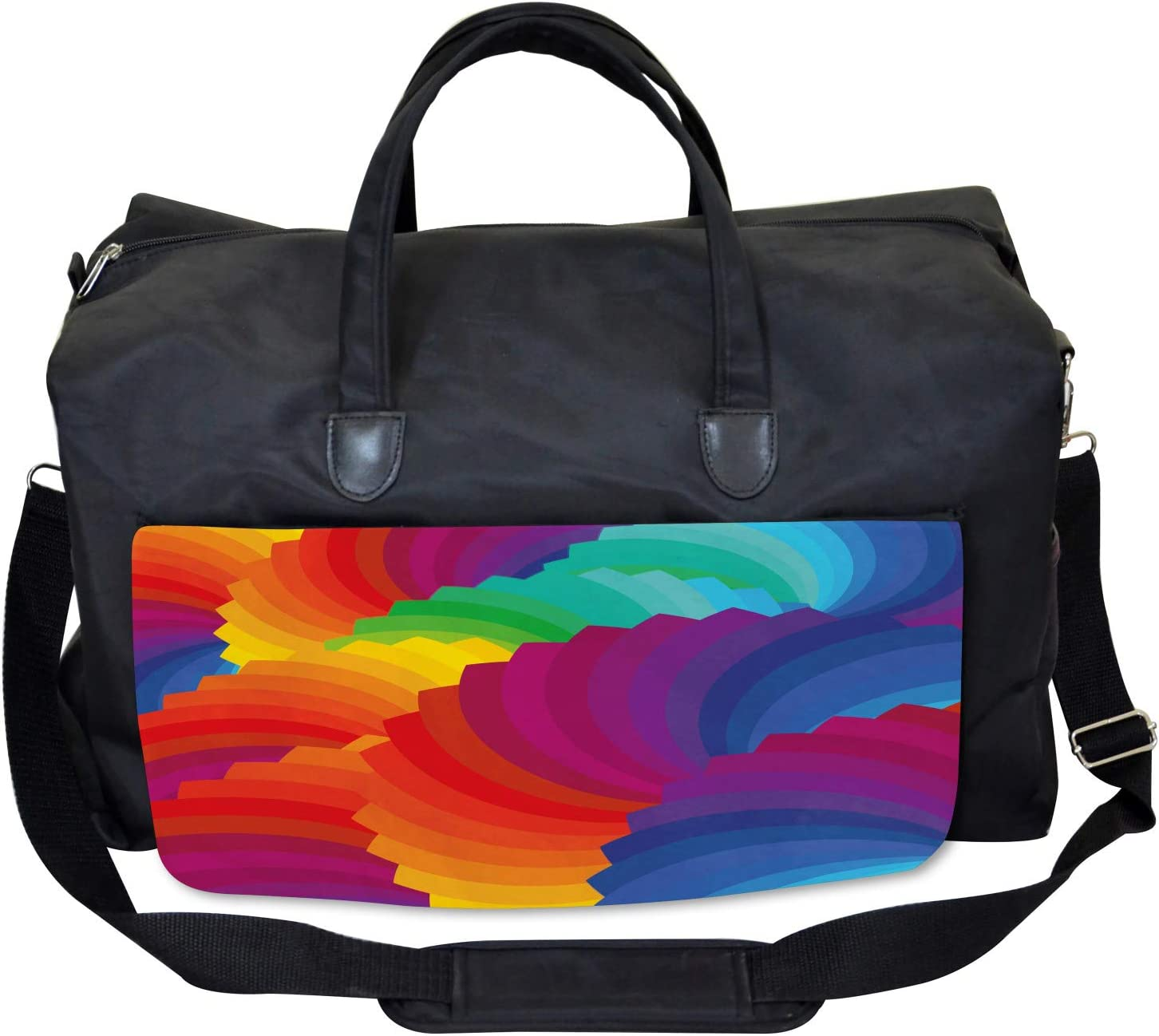 Ambesonne Geometric Gym Bag Large Weekender Carry-on Sea Shell Stripes