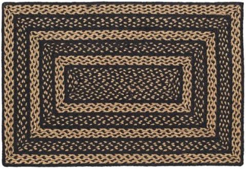 Classic Country Primitive Flooring – Farmhouse Jute Black Rug, 2 x 3