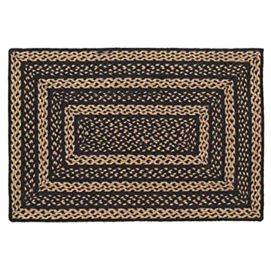 Classic Country Primitive Flooring - Farmhouse Jute Black Rug, 2' x 3'