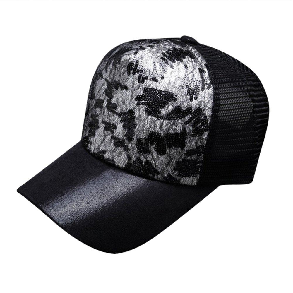 ITODA gorra de béisbol Snapback sombrero de sol visera playa malla Cap  Hip-hop Unisex Sun Hat anti-UV ajustable transpirable Imprimé pailleter Cap  para ... b5b1b3de6c9