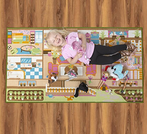 Kids Carpet Playmat Rug Play Time! Fun House Great For Playing With Dolls Mini People Figures Cars, Toys - Learn Educational Play Safe & Have Fun - Children Play Mat,Play Game Area Includes 3D Rooms! by Nessie Playground (Image #4)