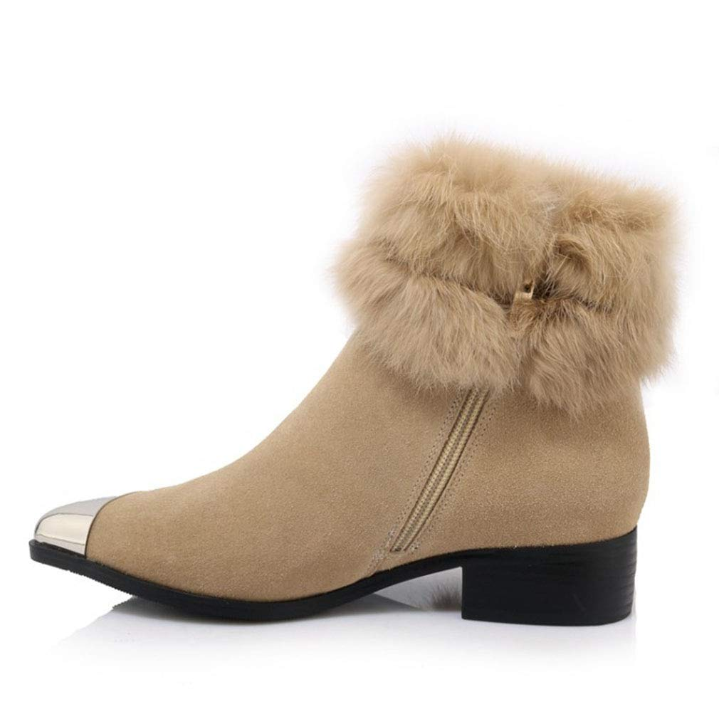 Brown Women's Boots Suede Winter Snow Boots Leather Zip Martin Boots Lady's Booties Non-Slip Platform shoes Casual Walking shoes (color   Brown, Size   39)