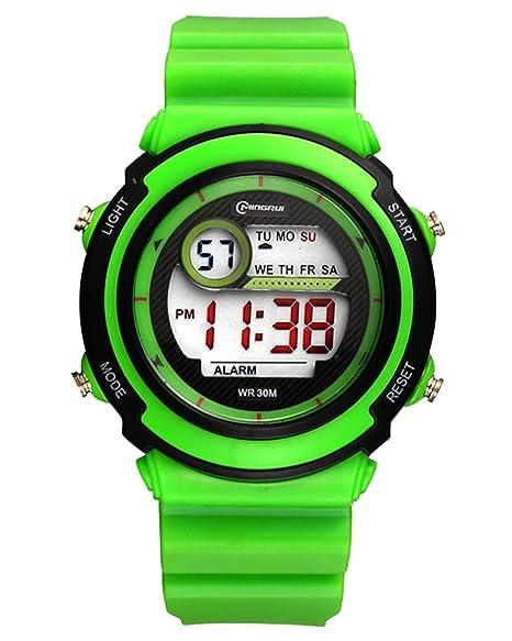 MINGRUI Nuevo Reloj Digital Deportivo con Alarma Cronométro Calentario Luz Nocturna Waterproof Watch para Niño Niña de Moda - Verde: Amazon.es: Relojes