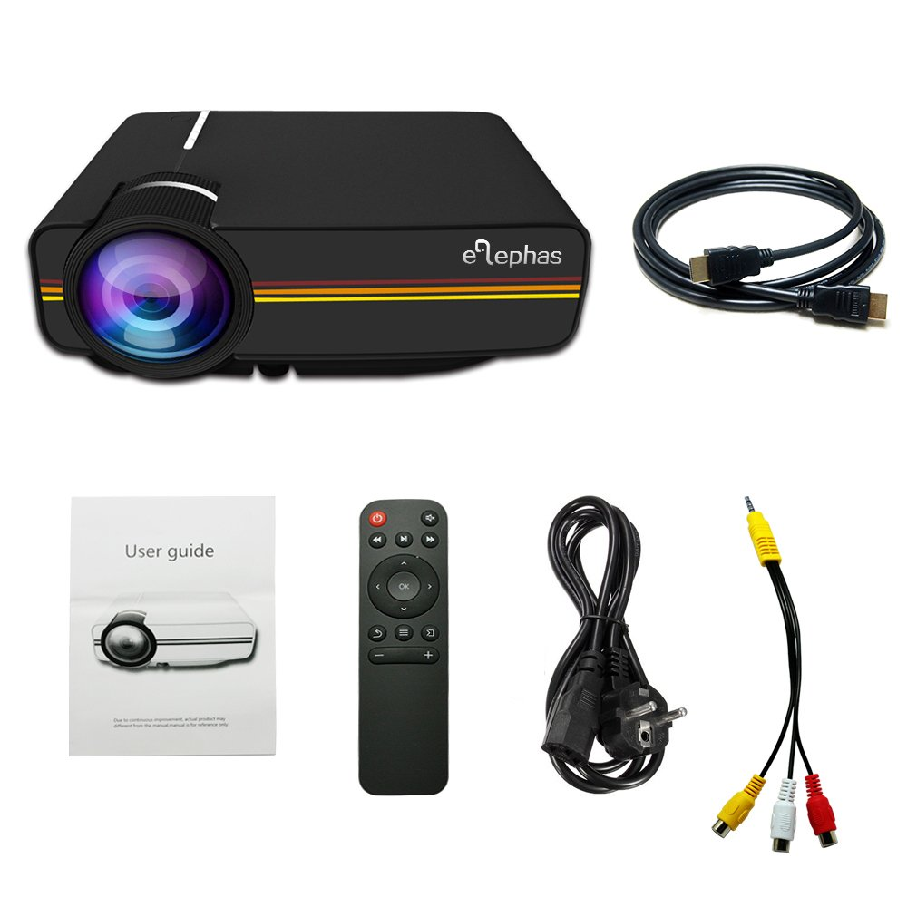 Beamer, Elephas LED Mini Beamer unterstützt 1080P HD 2200 Lumen für HDMI/VGA/AV/USB/SD für TV PC Laptop Kopfhörer iPhone Filme und Video Spiele, Schwarz