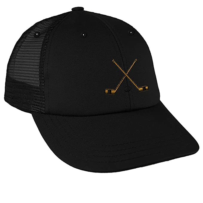 size 40 fadae 75530 Image Unavailable. Image not available for. Color  Speedy Pros Hockey  Sticks Embroidery Design Low Crown Mesh Golf Snapback Hat Black