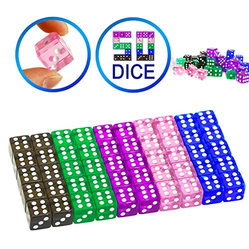 YOUSHARES 50 Pcs Multi-Color Dice Set – Assorted Translucent Color with 10 Pcs each, 16mm D6 Standard Dice with Extra Carrying Bag, Perfect for Tenzi, Yahtzee and Casino Games