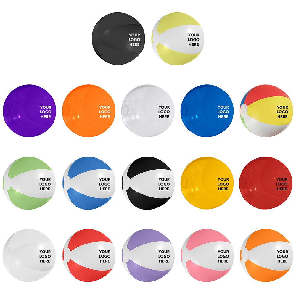 HiTouch Business Services #750 16-Inch Beach Ball - 75 Qty - $1.40 EA - Promotional Product/Custom/Your Logo/Low Minimums, Two-Tone White Orange by HiTouch Business Services