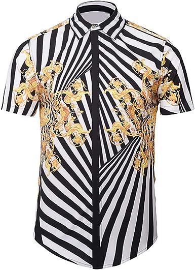 Sylar Hombre Camisa Manga Corta Slim Fit Moda Casual Personalidad Dragón Chino Impreso Abotonar Tops Camisa M-3XL: Amazon.es: Ropa y accesorios