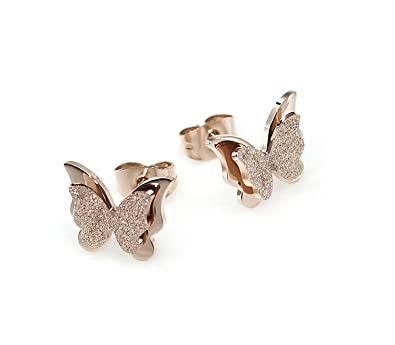 d3d388a5c Buy Yutii Charming Dual Butterfly Surgical Steel Rose Gold Stud Earrings  for Women Online at Low Prices in India | Amazon Jewellery Store - Amazon.in