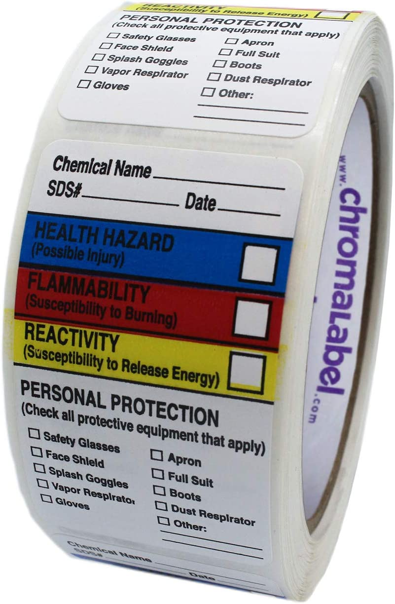 ChromaLabel 1-1/2 x 2-1/2 Inch HMIG Write-in Labels, 250/Roll