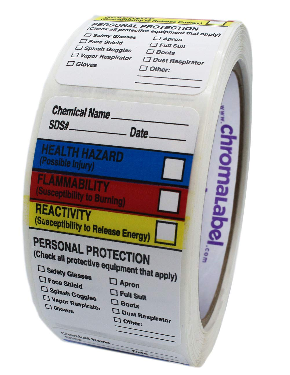ChromaLabel 1.5 x 2.5 inch HMIG Write-in Labels   250/Roll by ChromaLabel