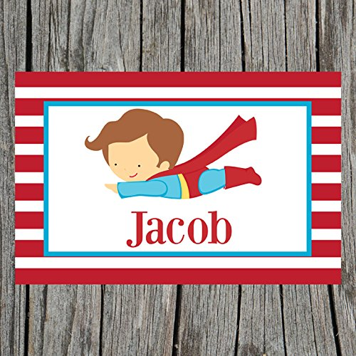 Red Striped Superhero Personalized Placemat