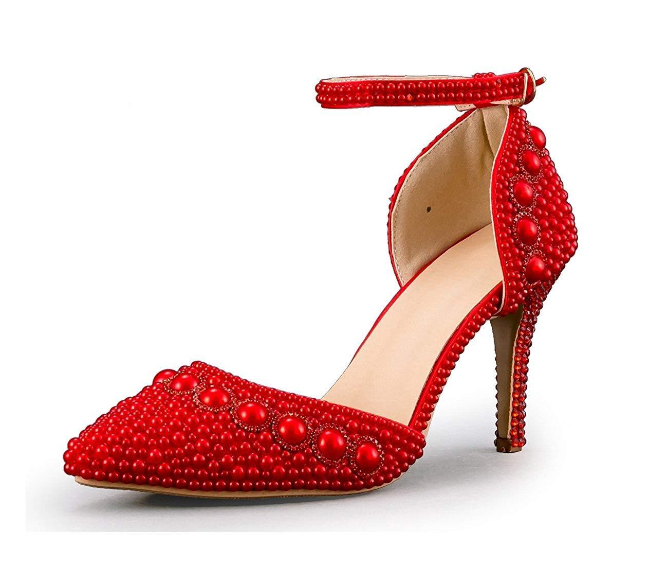 Qiusa Frauen Spitz Knöchelriemen Friesen Rot Hochzeit Besondere Anlässe Schuhe UK 2.5 (Farbe   - Größe   -)