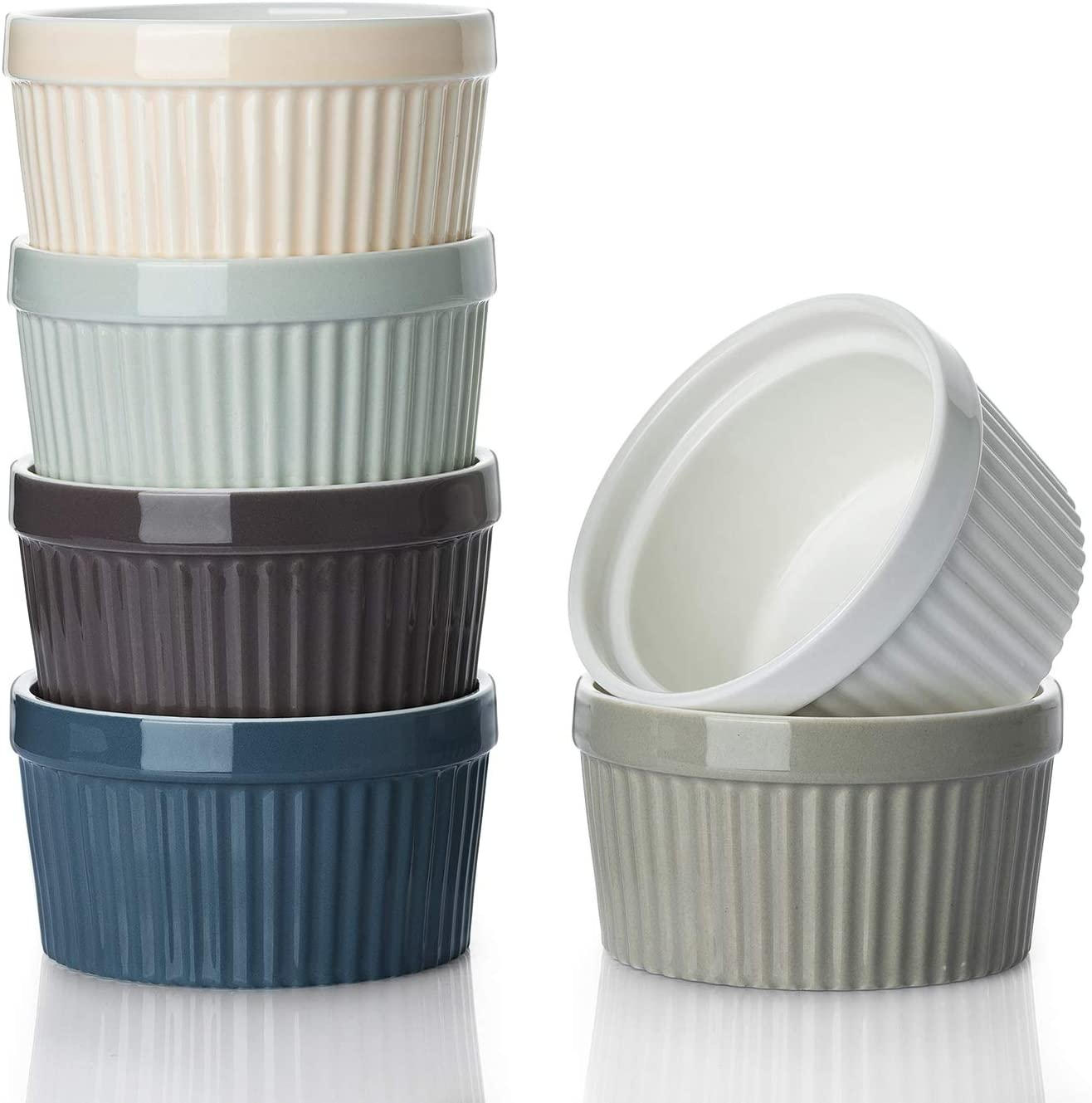 DOWAN 8 Oz Porcelain Ramekins - Souffle Dish Ramekins for Creme Brulee Pudding Oven Safe, Classic Style Ramekins Bowls for Baking, Set of 6, Colorful