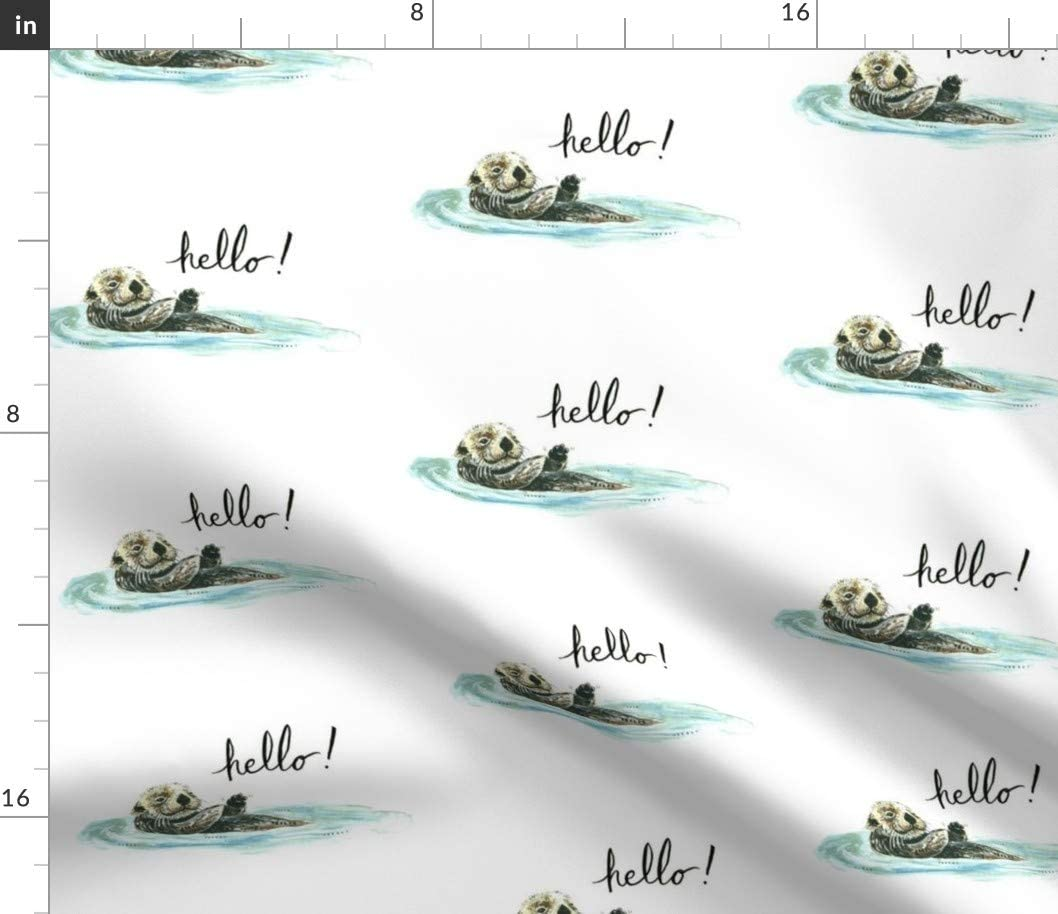 Spoonflower Fabric - Otter River Sea Ocean Cute Animal Printed on Petal Signature Cotton Fabric by The Yard - Sewing Quilting Apparel Crafts Decor