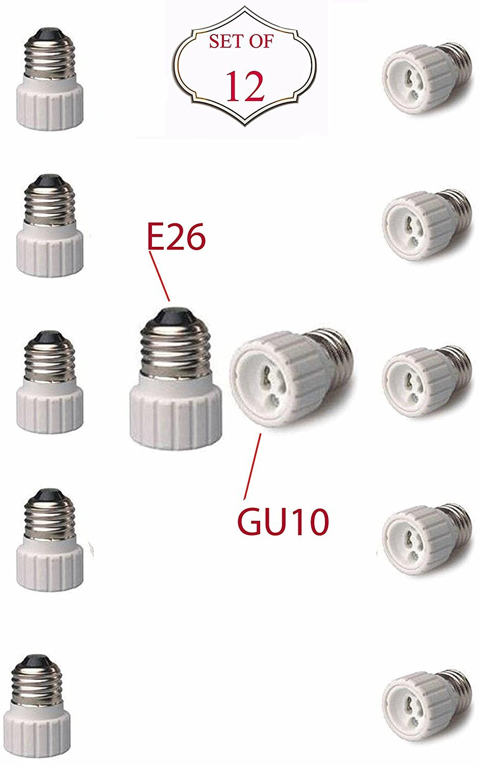 SleekLighting E26 to GU10 Adapters - Converts Your Standard Screw-in Bulb (E26) to Pin Base Fixture (GU10) Maximum Watts and Voltage Capacity-Set of 12 18012