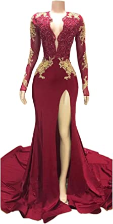 Mordarli Womens Embroidery Lace Applique Long Mermaid Evening Bridesmaid Dress