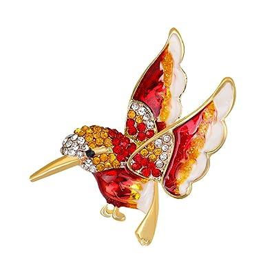 d96d347717d HBINY Hbinydepial Fashion Bird Rhinestone Alloy Women's Brooch Pin Dress  Sweater Clothes Ornament Red