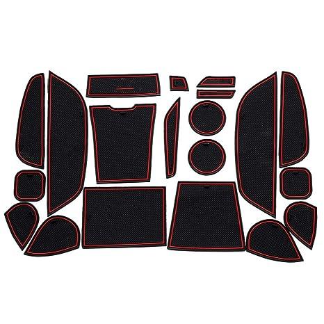 8X-SPEED F/ür A3 2014 2015 T/ürschlitz Pad Auto Cup Matten Becherhalter Pad Rutschfeste Gummi Matten Tor Slot Pad Innent/ür Zubeh/ör T/ür Nut Matte Rot 9 St/ück
