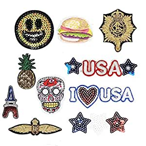 Mily Assorted Embroidery Patches Iron On Appliques Decal Sticker for Denim Jeans Jacket Handbag Shoes (Multicolor1)