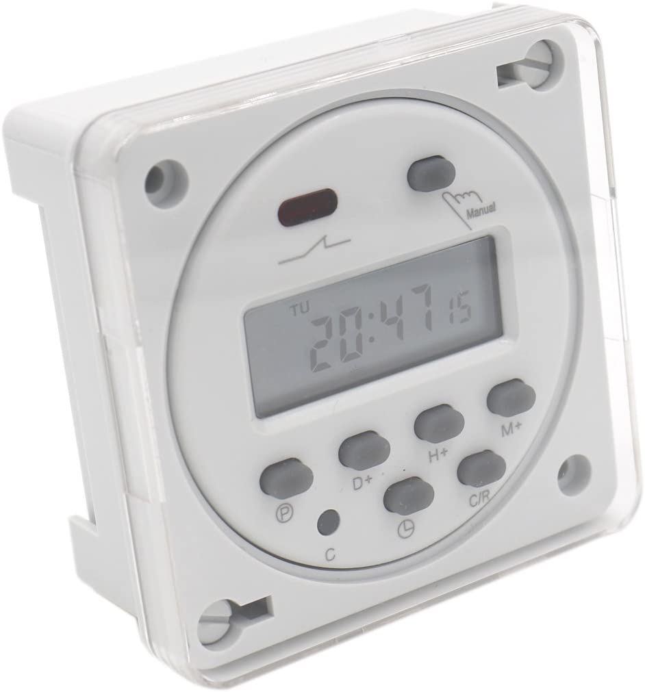 heschen Digital LCD de alimentación semanal temporizador programable relé interruptor CN101A DC 12V 16A SPST con resistente al agua, color blanco