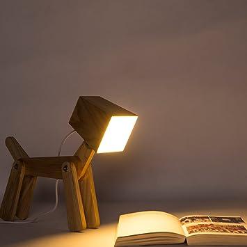 HROOME Modern Design Holz Schreibtischlampe Led Touch Dimmbar Verstellbar Tiere Hund Lampe Dimmer Tischlampe Beleuchtung Fr