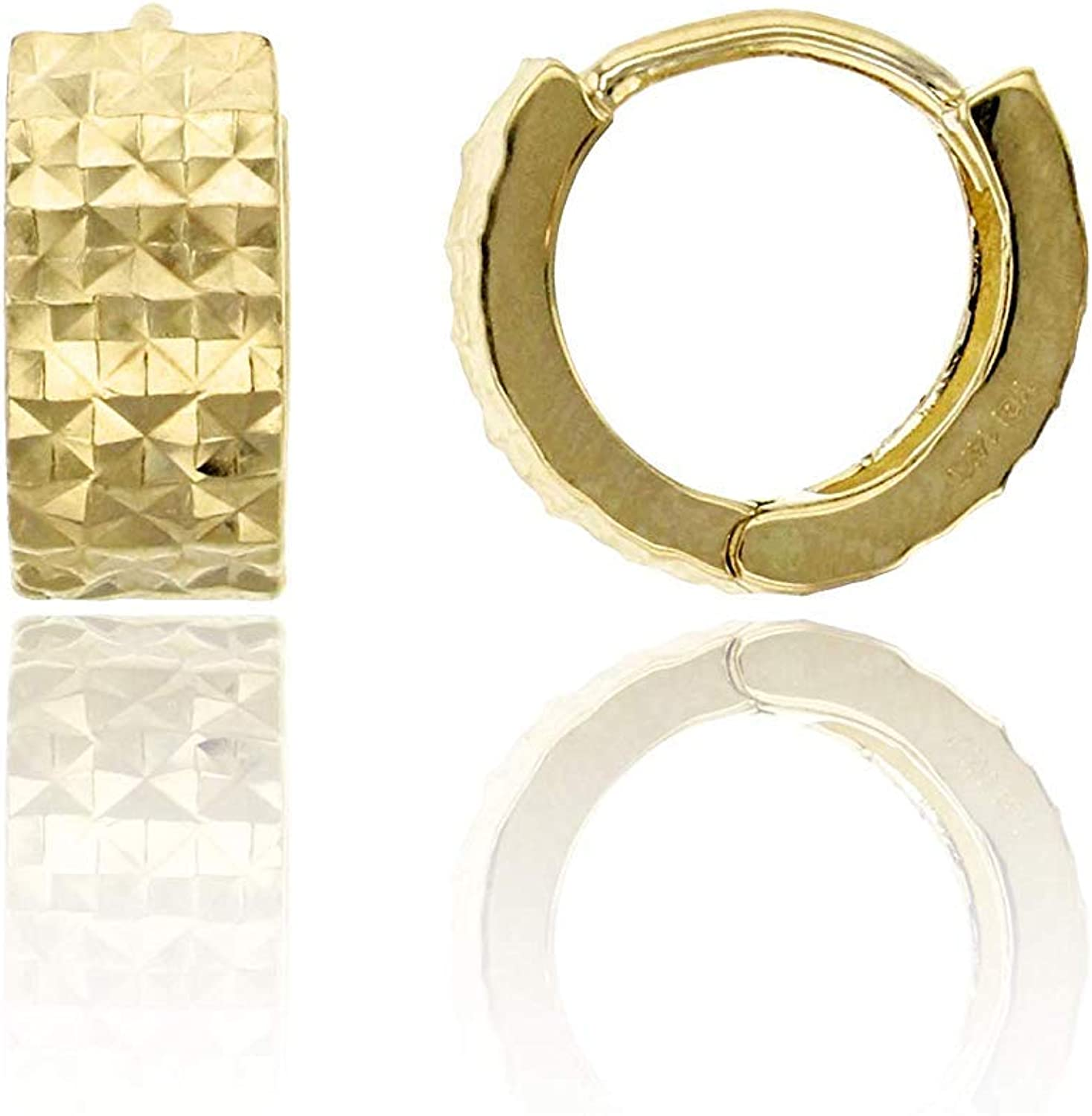 14K Yellow Solid Gold Diamond Cut 4.20mm Thick Huggie Earring   Diamond Cut Huggie Earrings   4.20x10mm   Endless Huggie Hoop Earrings   Solid Gold Earrings for Women, Teens and Kids