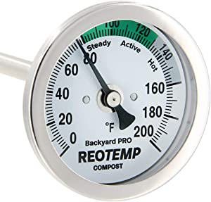 REOTEMP Backyard Pro Compost Thermometer, with PDF Composting Guide (0-200 Fahrenheit) (24 Inch Stem)