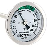 REOTEMP Backyard Pro Compost Thermometer, 24 Inch Stem, with PDF Composting Guide (0-200 Fahrenheit)