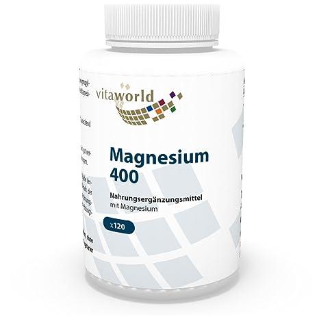 Magnesio 400mg 120 Cápsulas Vegetales - Vita World Producción Farmacia Alemania
