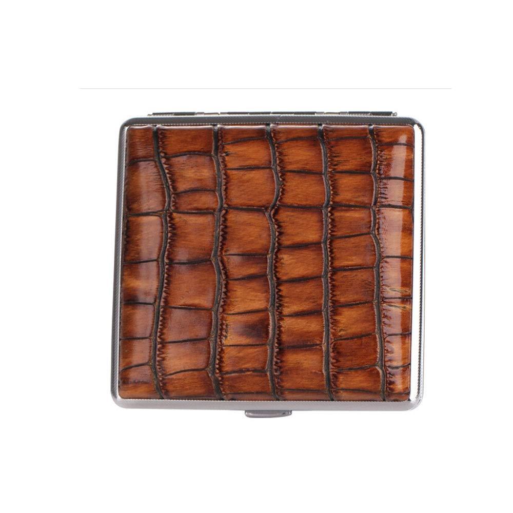 QINRUIKUANGSHAN Cigarette Case, Crocodile Pattern 20 Sticks Retro Ultra-thin Portable Metal Men's Business Cigarette Case, Personalized Moisture-proof And Pressure-proof Portable Cigarette Holder, Fir