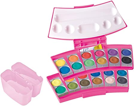 Pelikan 724252 Procolor 12 - Estuche de 24 Acuarelas en Color Rosa: Amazon.es: Juguetes y juegos