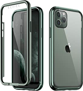 """SURITCH Clear Case for iPhone 11 Pro Max, [Built in Screen Protector][9H Tempered Glass Back][Metallic Electroplated Edge] Shockproof Hard Full Body Soft Bumper for iPhone 11 Pro Max 6.5""""(Dark Green)"""
