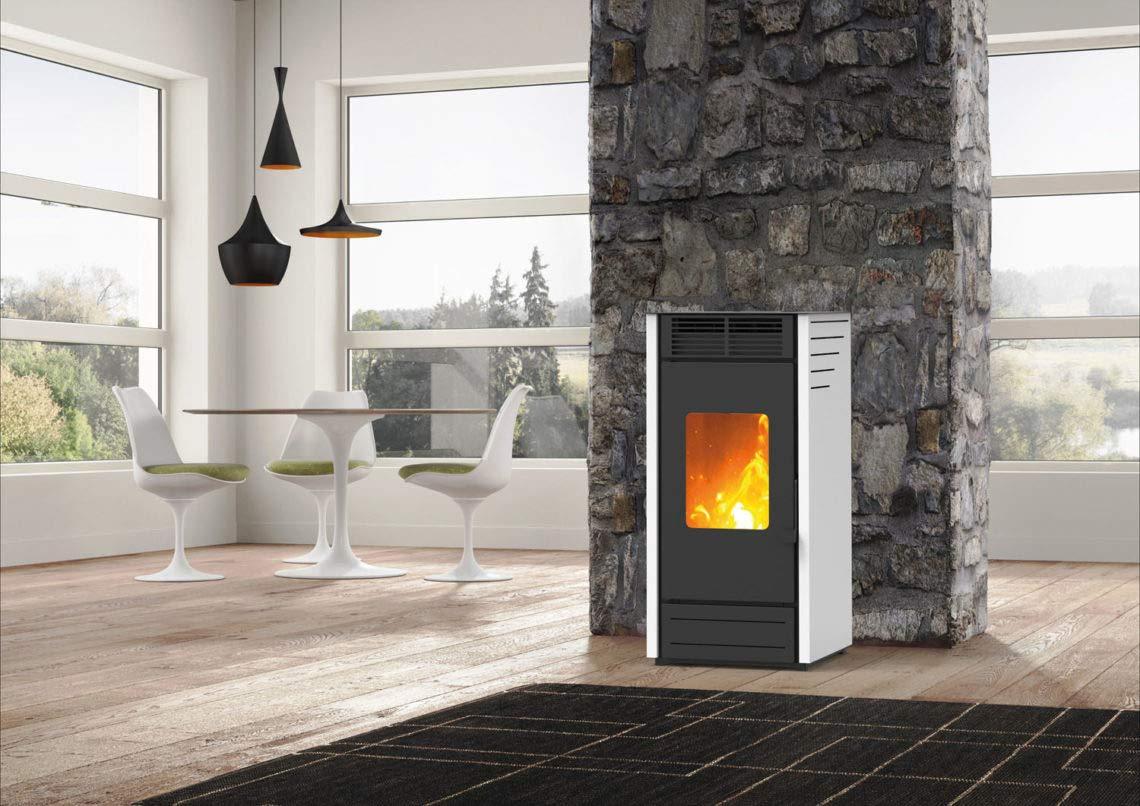 Estufa a PELLAS karmek One Asia de 7,65 kW de aire de ventilación de acero, blanco: Amazon.es: Hogar