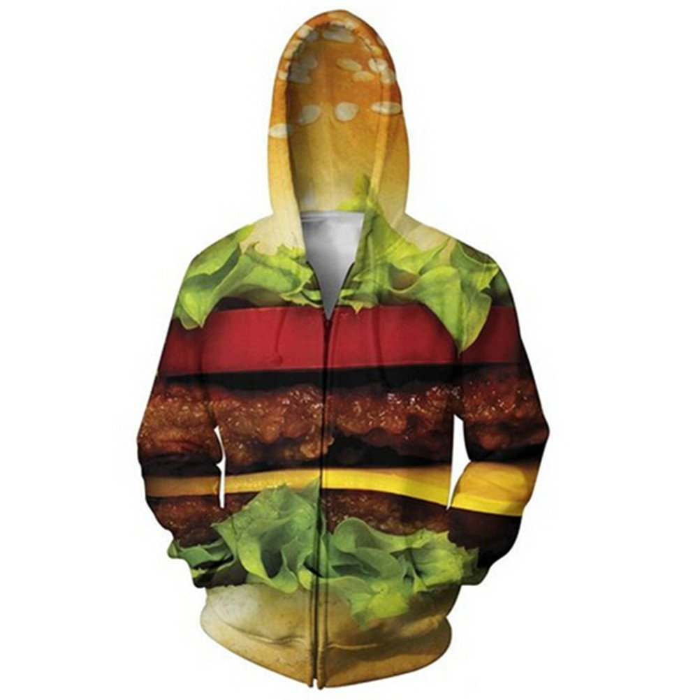 Women Men 3D Cool Print Creative Graffiti Zip Up Hoodie Jacket Coat Hooded