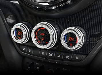 Silver, F54 F55 F56 F60 NIUHURU Car Interior Trim Bling Accessories Multimedia Decorative Cover Rhinestone Decals Sticker fit for Mini F54 F55 F56 F60 Cooper Clubman Countryman 2016-2019