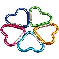 LIOOBO 10 unids mosquetón Clip Llavero Senderismo Hamaca Forma de corazón Alpinismo Gancho Moda para Hombres Mujeres (Color Aleatorio)